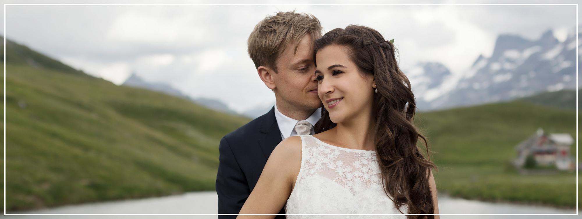 Brautpaar Fotoshooting in der Melchseefrutt inmitten von Bergen