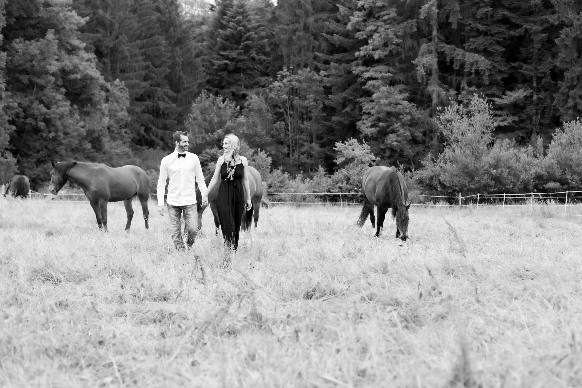 Verliebtes Paar spaziert über eine Pferdeweide