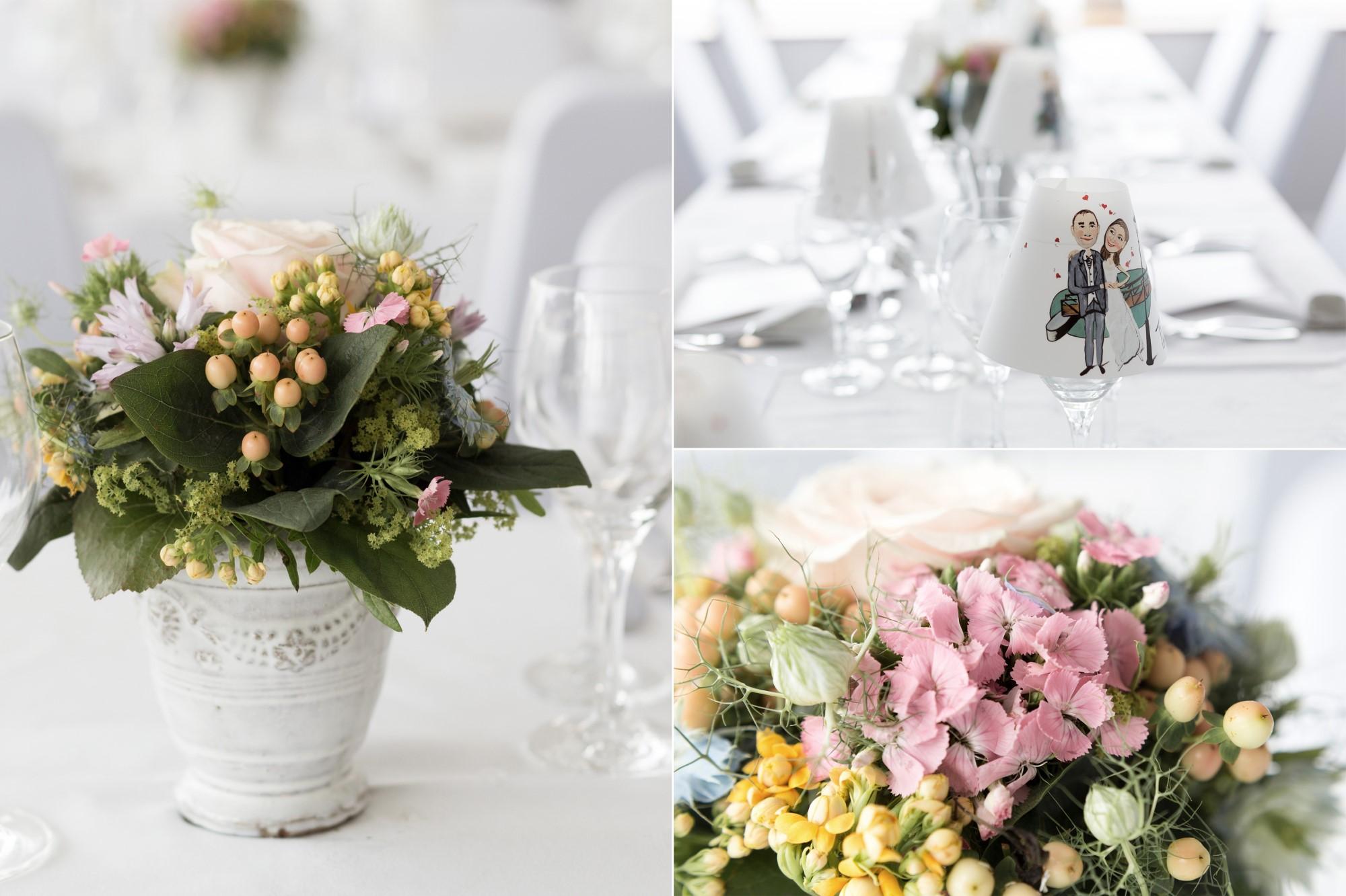 Detail Bilder von der Hochzeitsdekoration auf der MS Christoph Merian