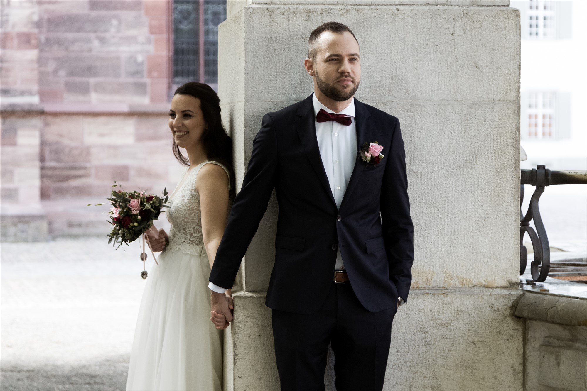 First Look des Brautpaares auf dem Münsterplatz