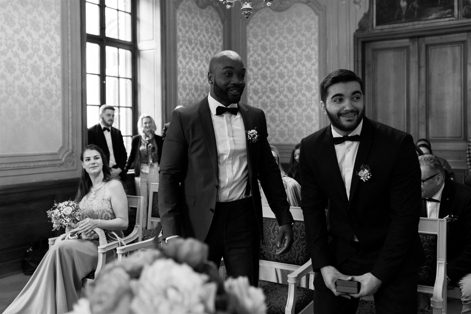 Der First Look des Brautpaares vor der zivilen Trauung in Basel