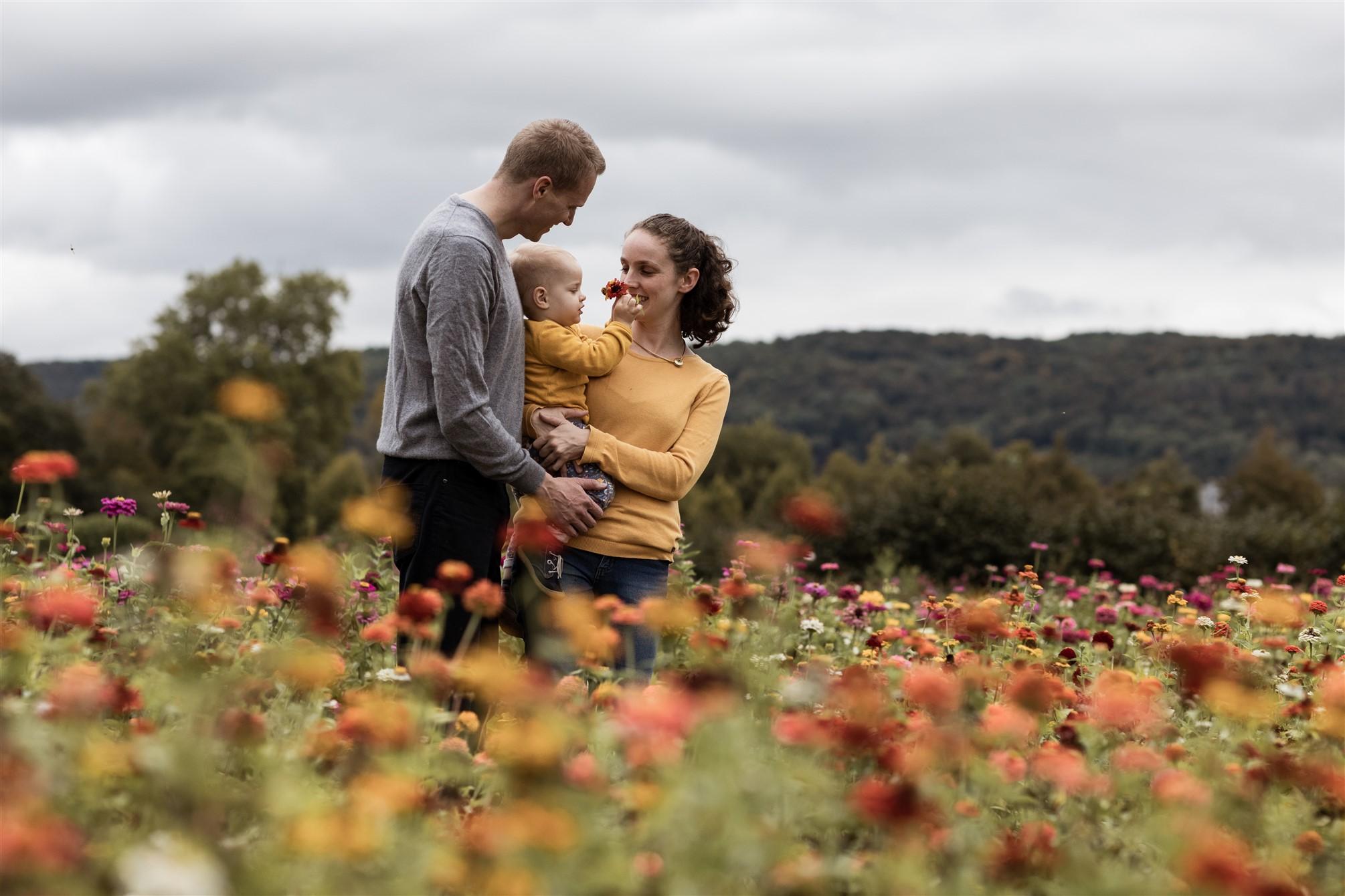 Familien Fotoshooting in Basel - Familienfotoshooting inmitten von einem Blumenfeld
