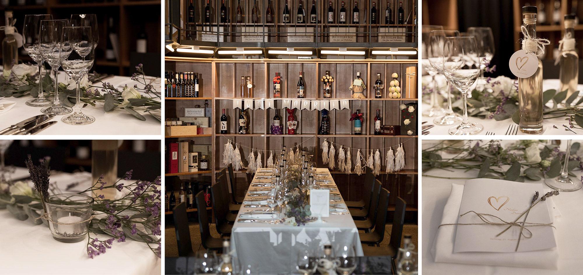 Hochzeit im Teufelhof - Tischdekoration - Hochzeitsfotografin Basel