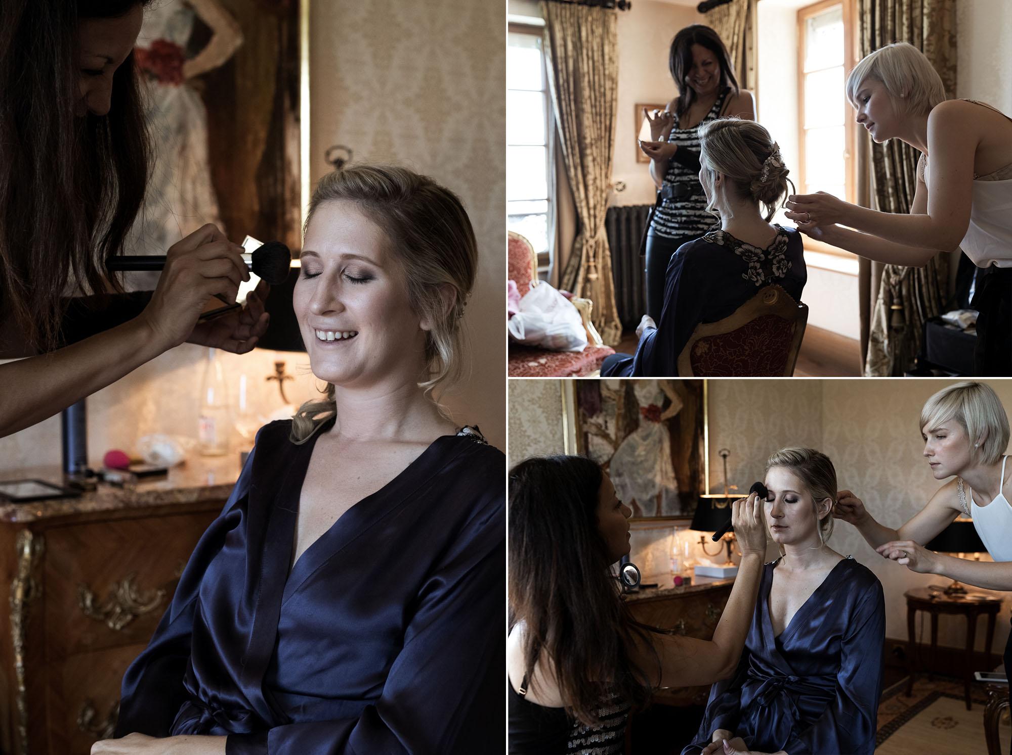 Hochzeit Grand Hotel Les Trois Rois Basel Getting Ready der Braut Hochzeitsfotograf Basel