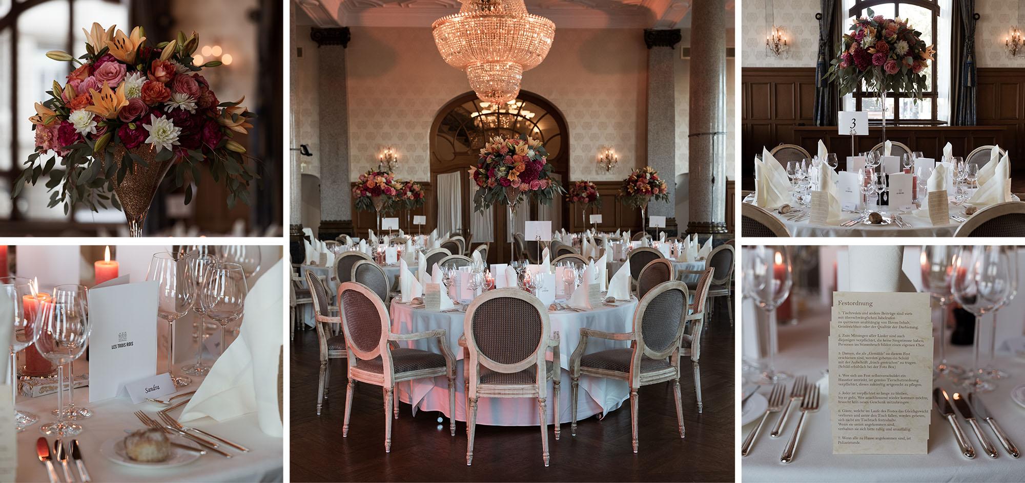 Das Hochzeitsfest im Grand Hotel Les Trois Rois - Location - Hochzeitsdekoration - Hochzeitsfotograf Basel