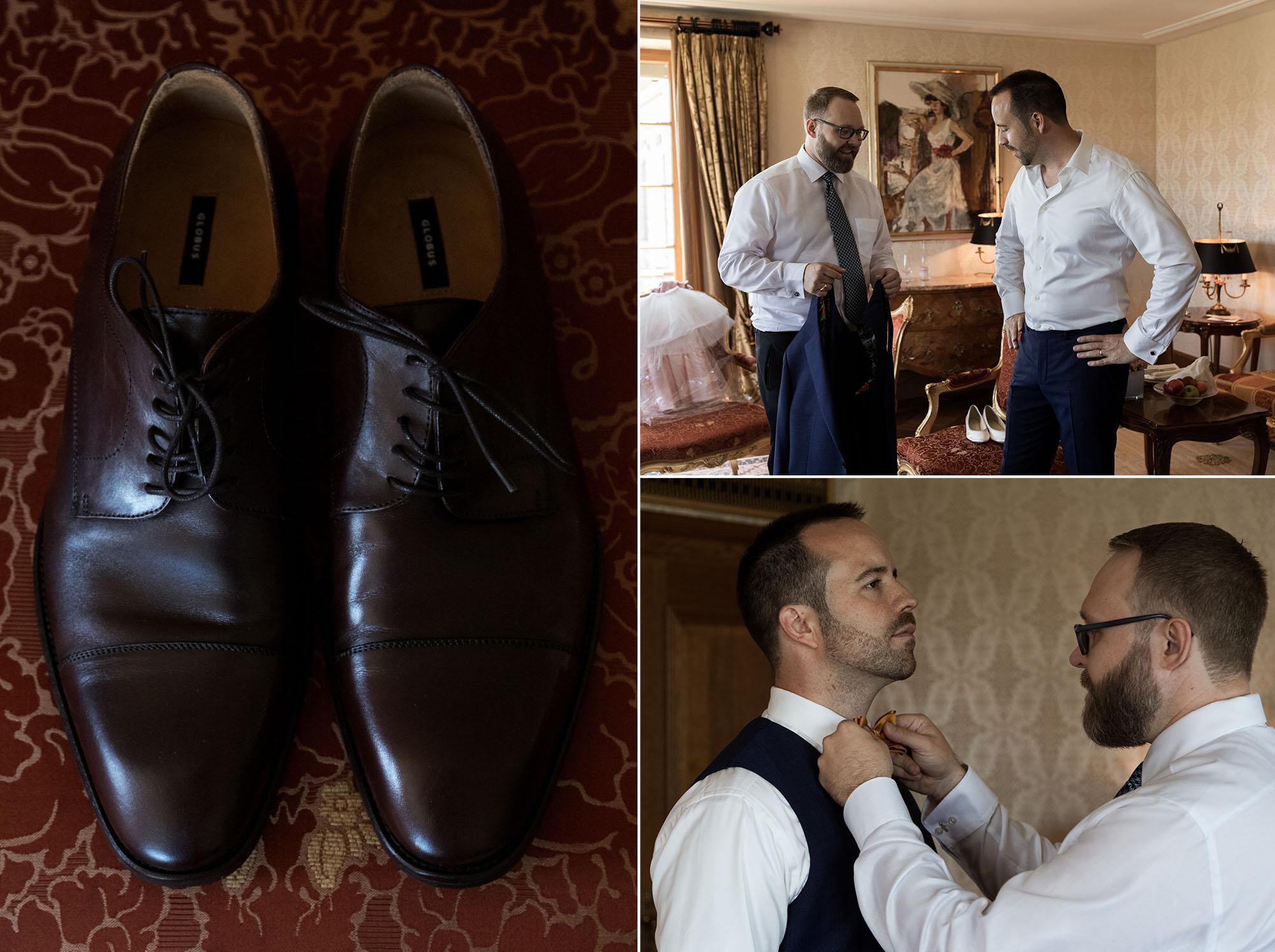 Getting Ready Bräutigam - Hochzeitsfotograf Basel - Hochzeit im Grand Hotel Les Trois Rois