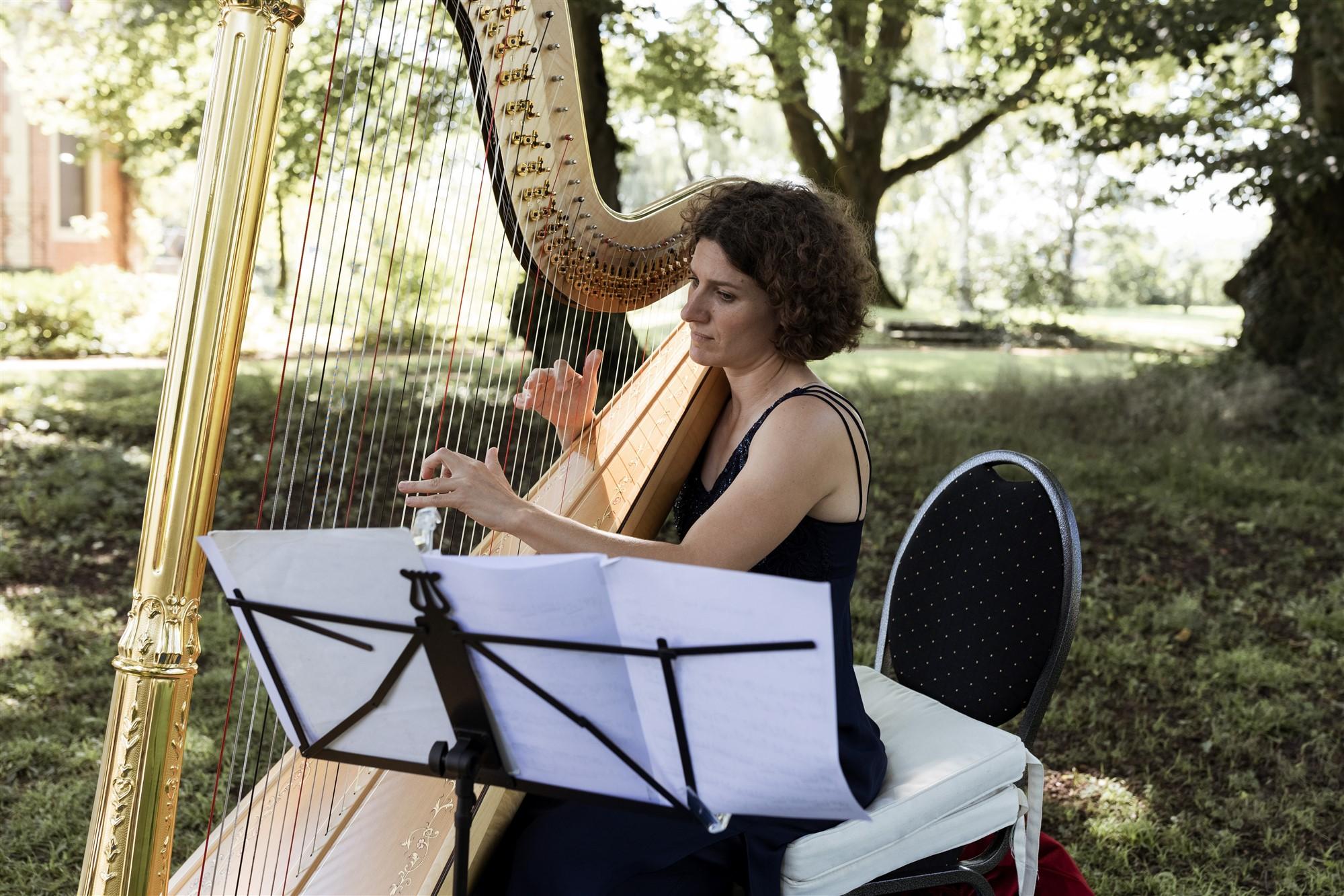 Freie Trauung im Hirzen Pavillon - Die Trauung mit Harfenspielerin - Hochzeitsfotograf Basel
